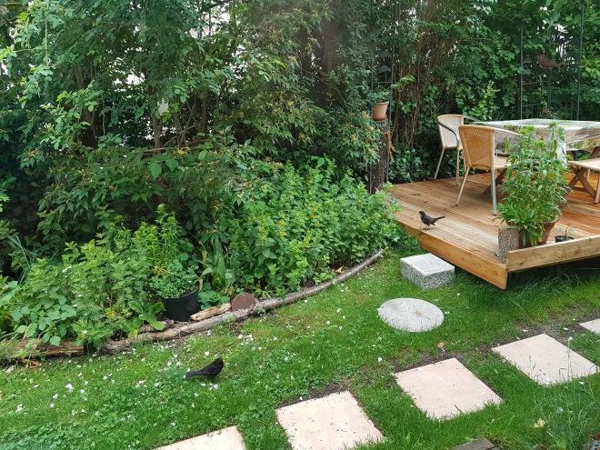 Holzterrasse und Plattenweg – Kinder des Corona